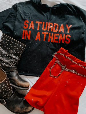 Red & Black Sat. in Athens Tee