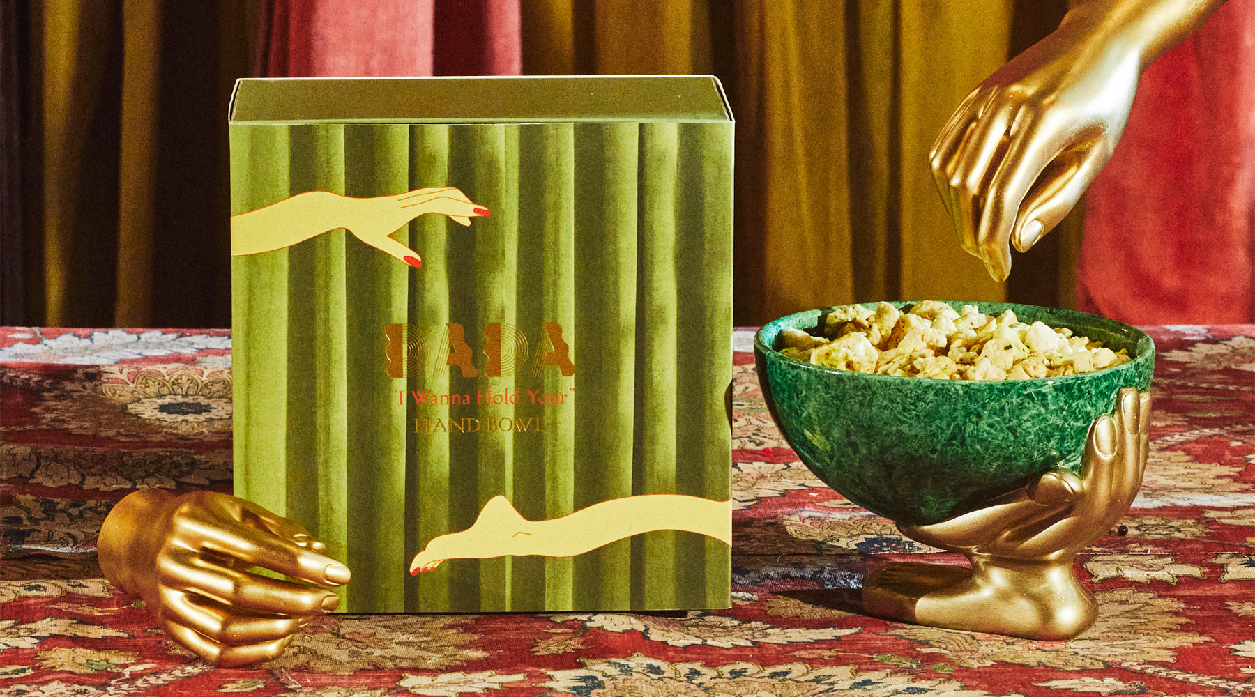 hand, bowl, malachite, gold, resin, packaging, snacks, serving bowl, dada daily, make decadence a ritual, elevate your snacking moment
