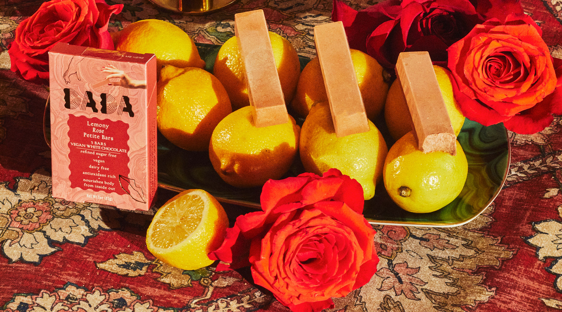 lemon, rose, vegan, white chocolate, coconut, dada daily, make decadence a ritual, elevate your snacking moment