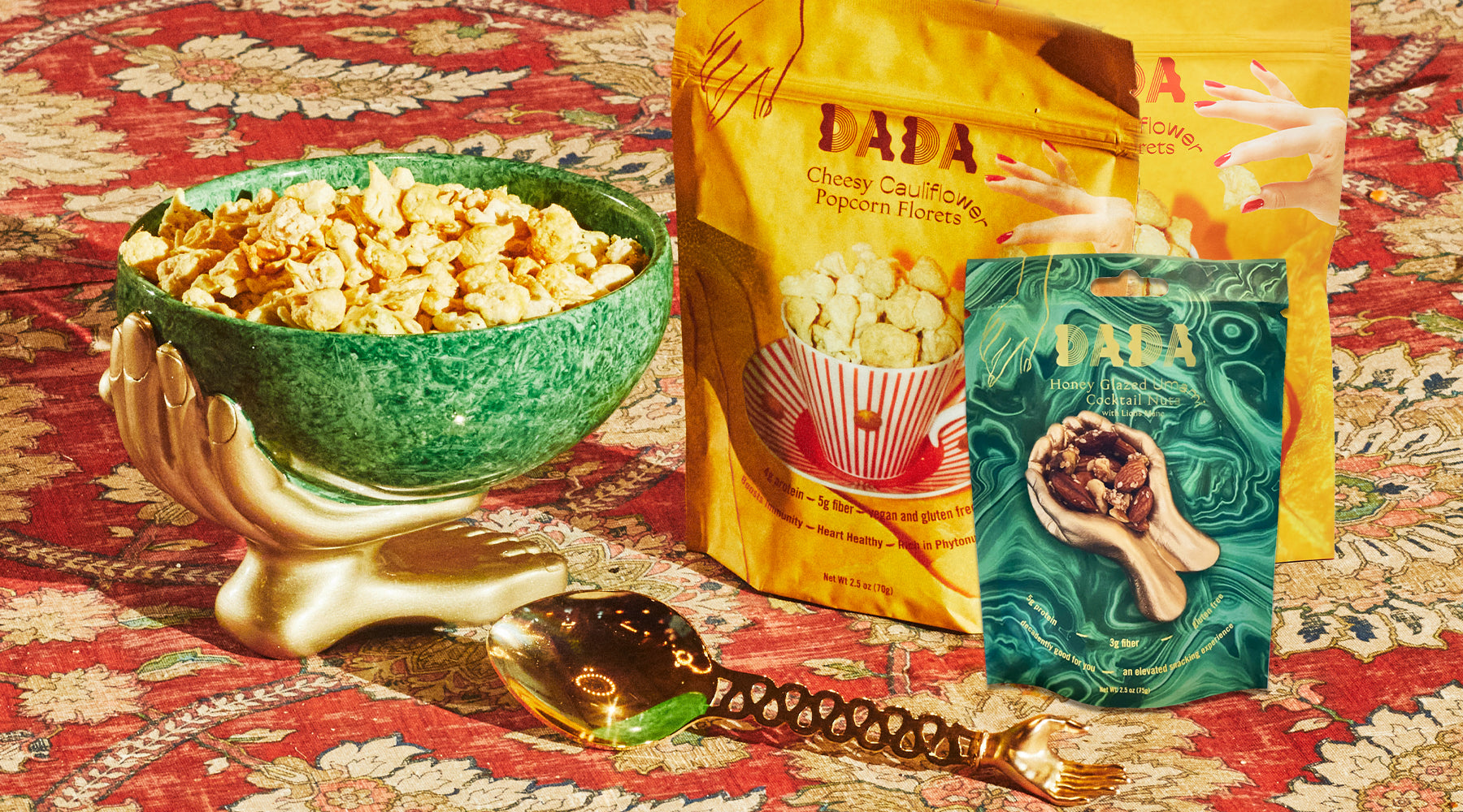 cauliflower, nuts, cocktail, snacks, bowl, spoon, hand, popcorn, dada daily, make decadence a ritual, elevate your snacking moment