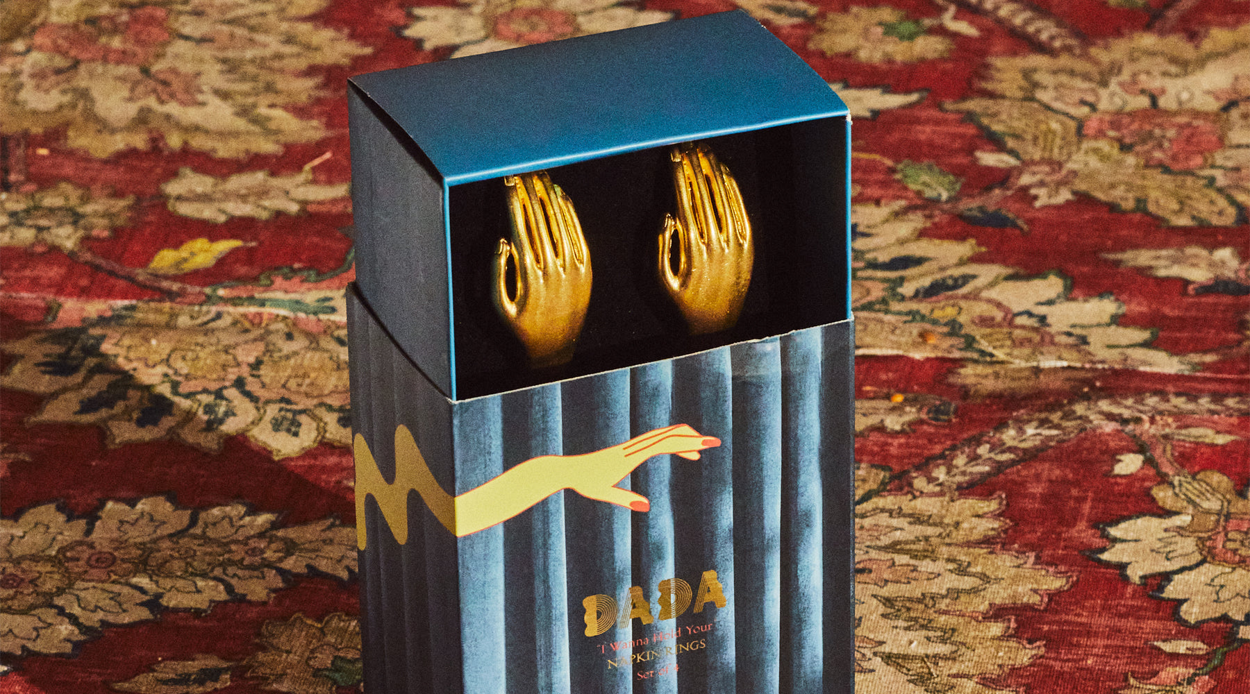 napkin, ring, hand, set, packaging, gold, brass, dada daily, make decadence a ritual