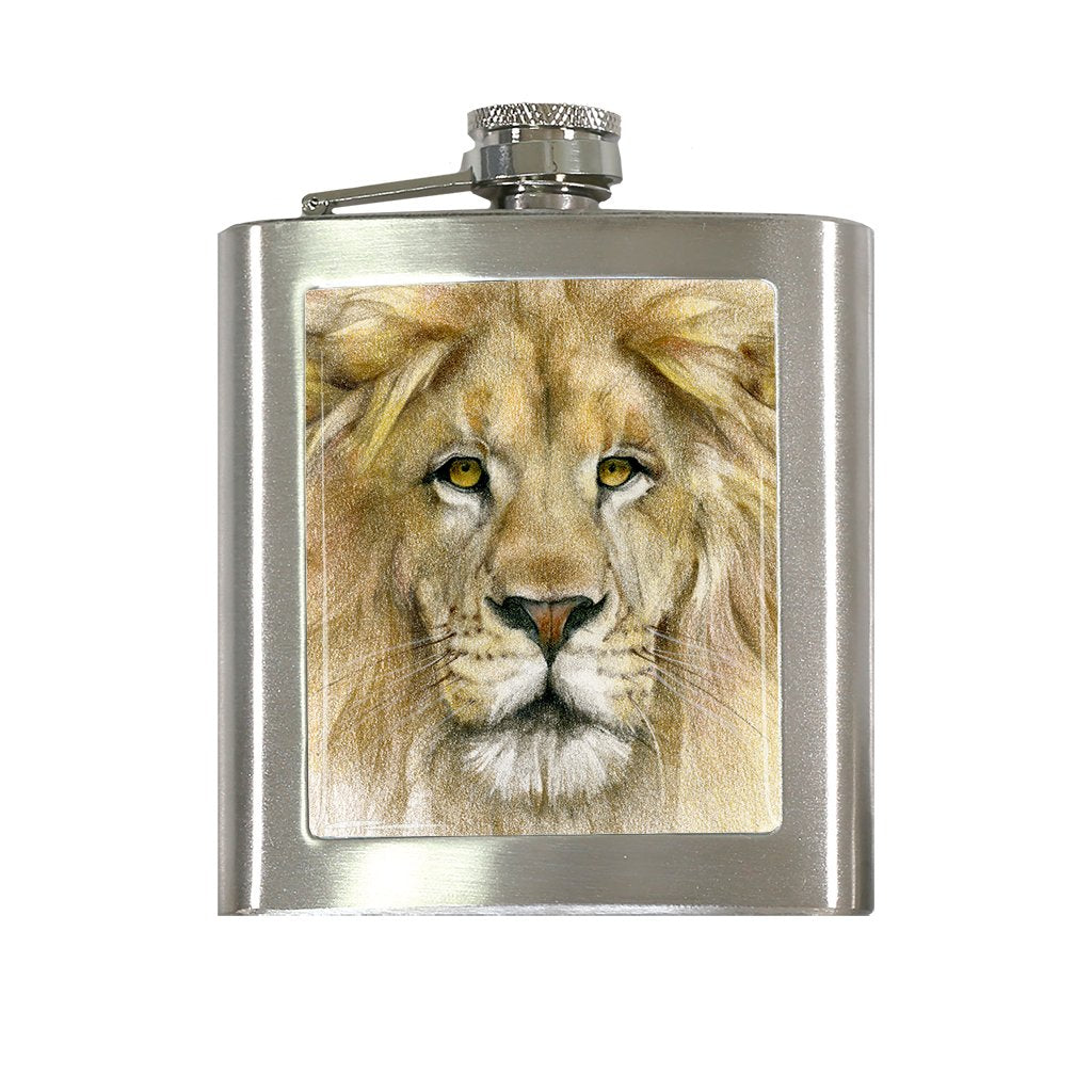 [FL-455] Lion Portrait Flask