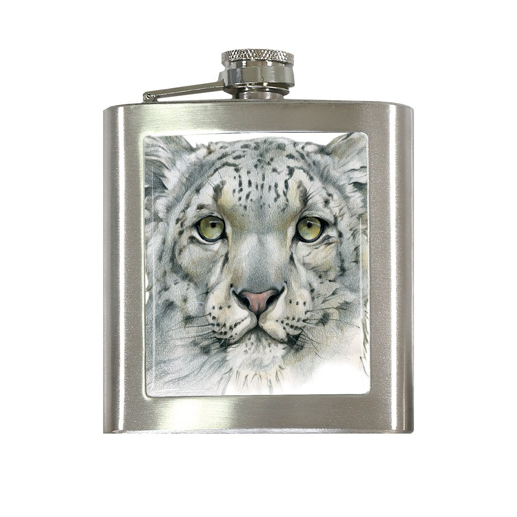 [FL-465] Snow Leopard Portrait Flask