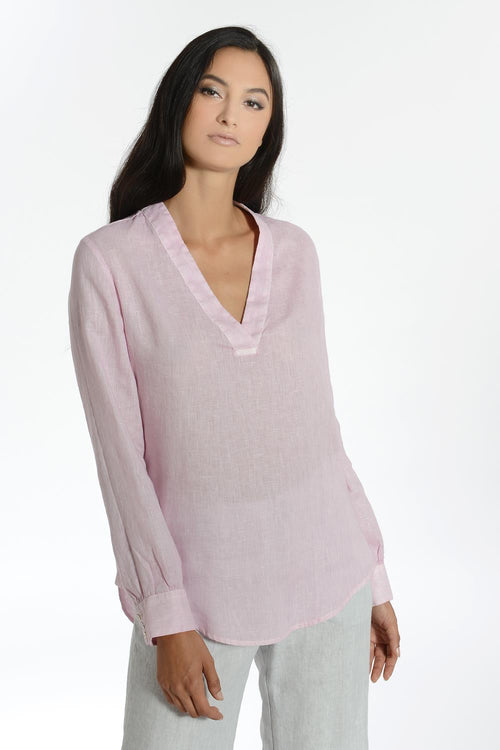 120% Lino Long Sleeve V-neck Linen Top in Fragrant Pink