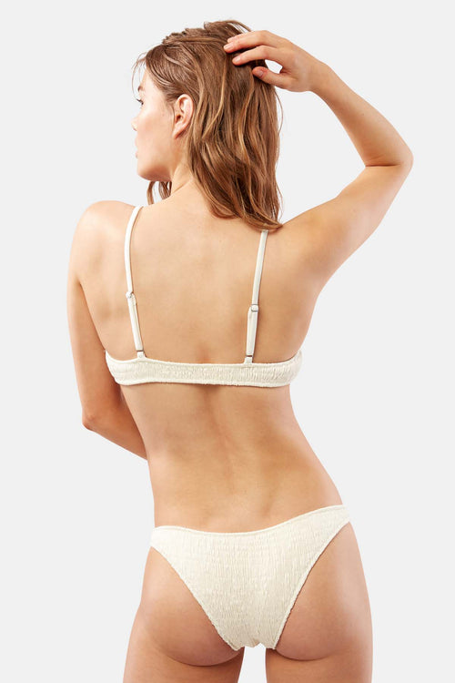 Solid and Striped Rachel Ruched Pearl White Designer Bikini