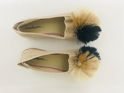 Casa de Vera Alaya Pom-Pom Espadrillas - Cream and Blue