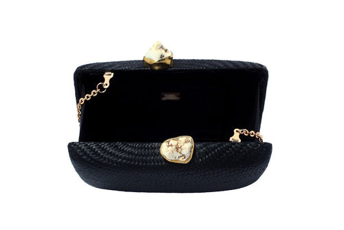 Kayu Jen Clutch with White Stones in Black, Kayu Jen Clutch with White Stones in Black