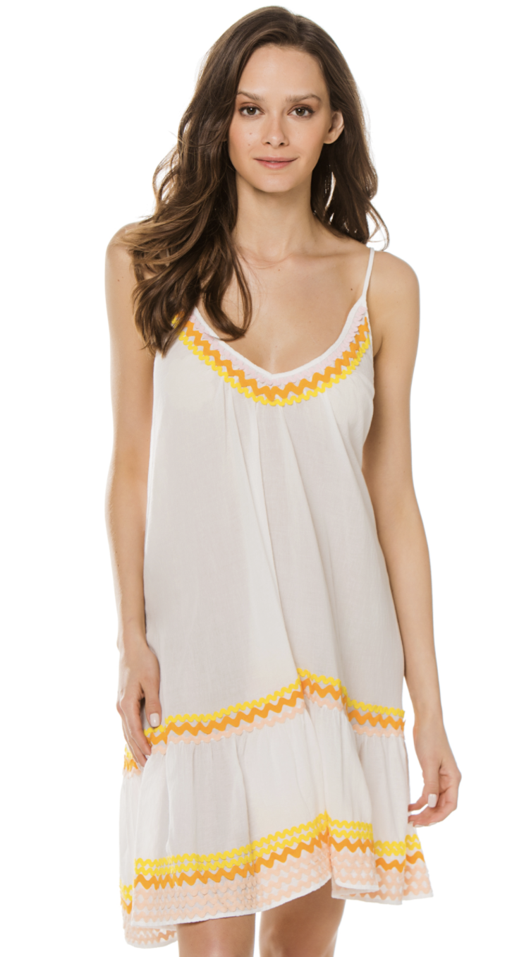 9seed St Tropez Ruffle Mini Beach Dress in Black with Citrus Trims
