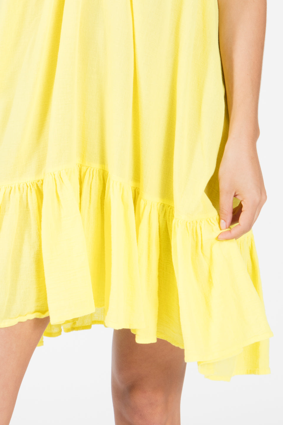 9seed St Tropez Ruffle Mini Beach Dress in Lemon Yellow