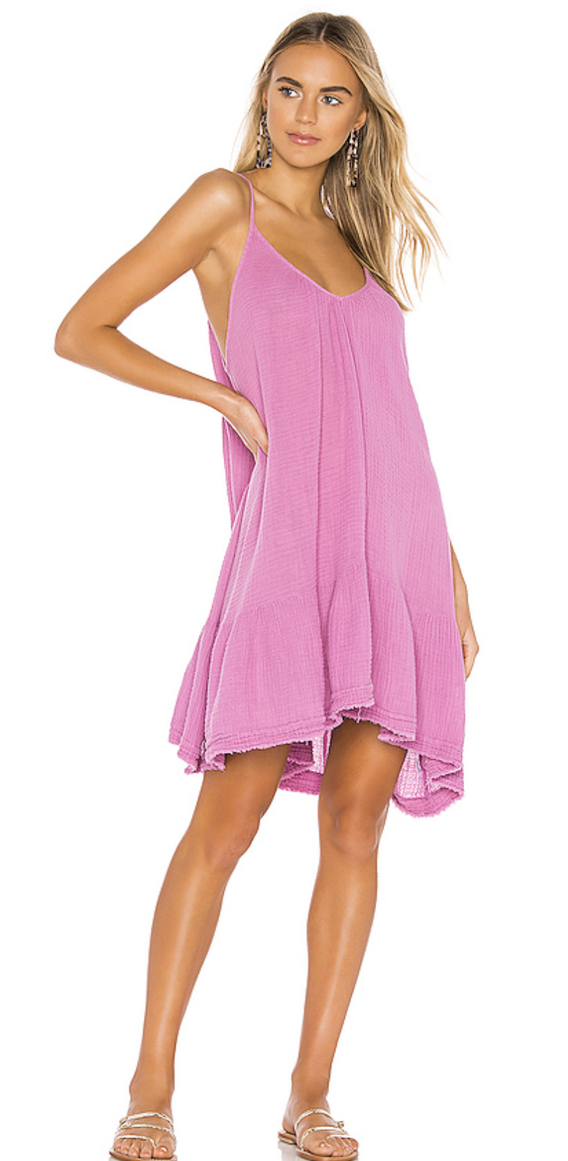 9seed St Tropez Ruffle Mini Beach Dress in Petal Rose - Lightweight Gauze