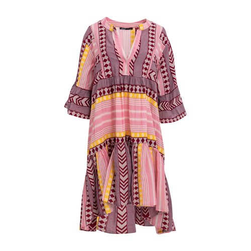 Devotion Midi Dress in Pink/Yellow