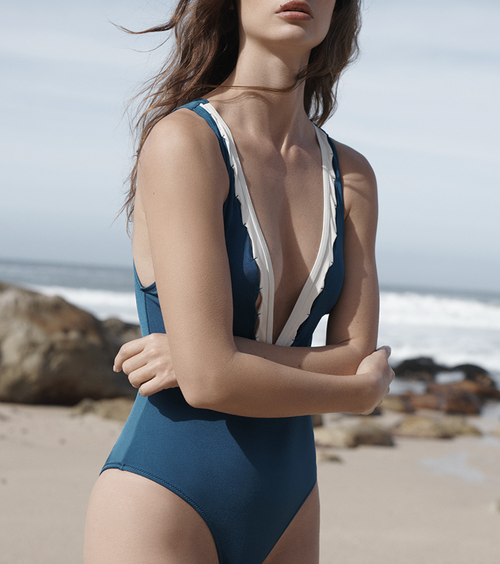 Evarae Itea One Piece in Creme and Teal Blue