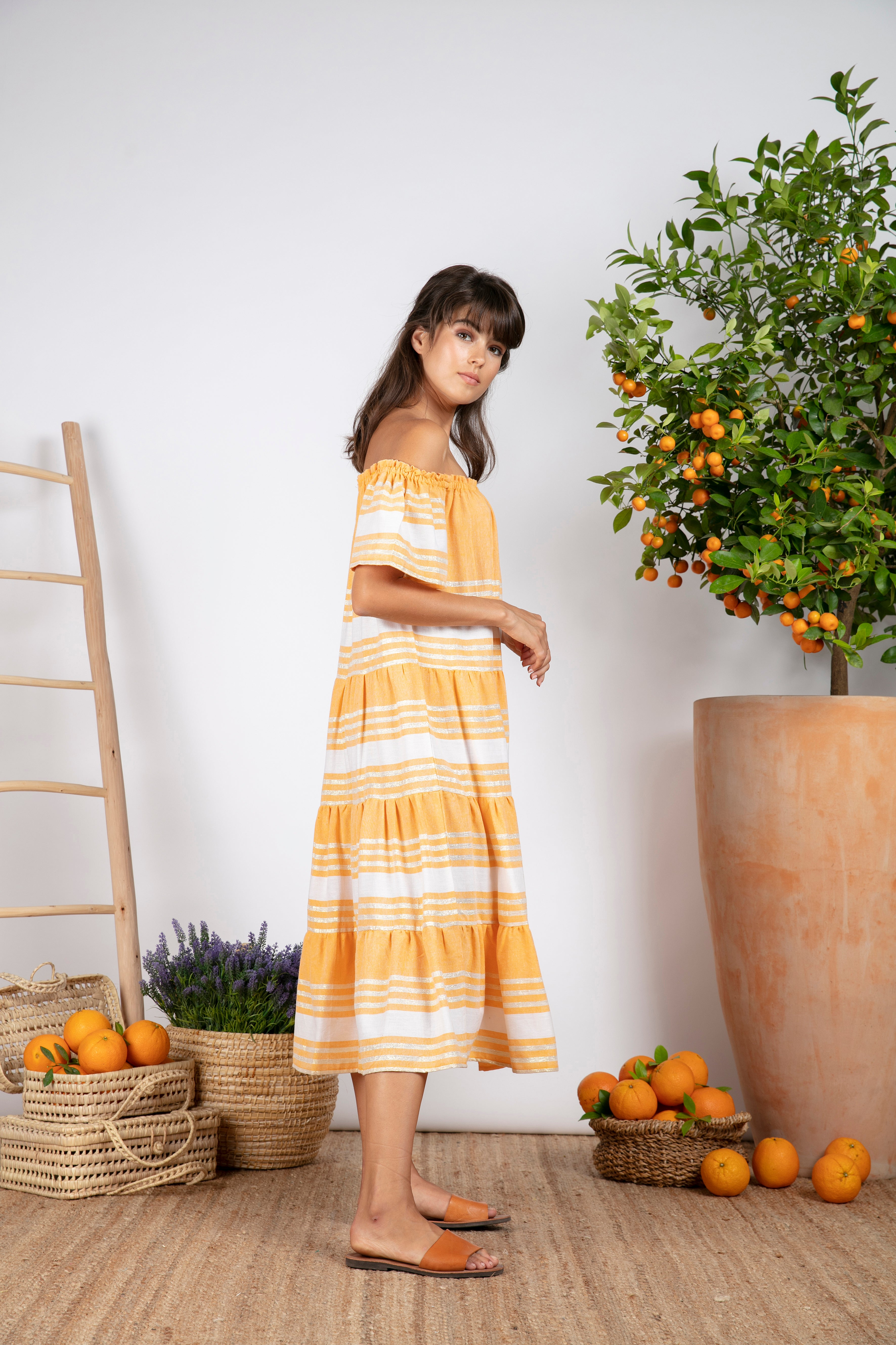 Sundress Biba Fouta Yellow Long Stripes Dress