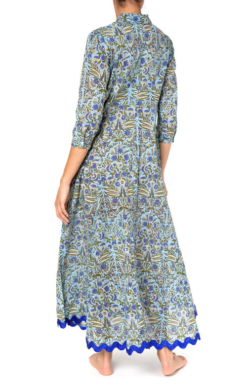 Juliet Dunn Botanical Maxi Dress With Metallic Rik Rak
