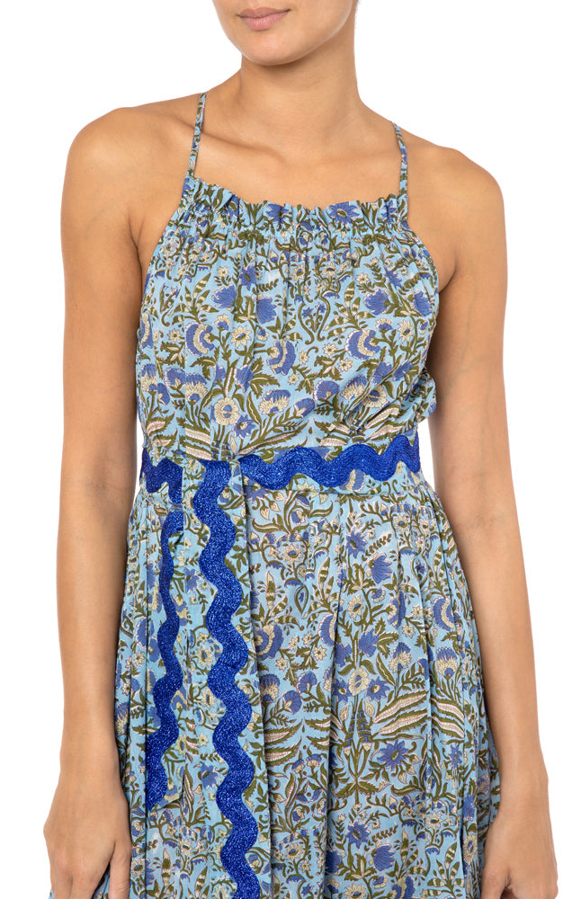 Juliet Dunn Botanical Cross Back Midi Dress in Blue