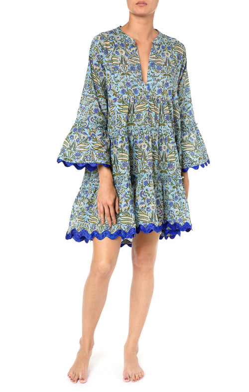 Juliet Dunn Flared Sleeve Botanical Dress