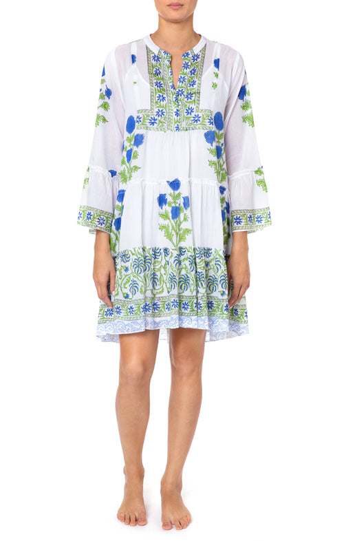 Juliet Dunn Cobalt Blue Poppy Print Flared Sleeve Dress