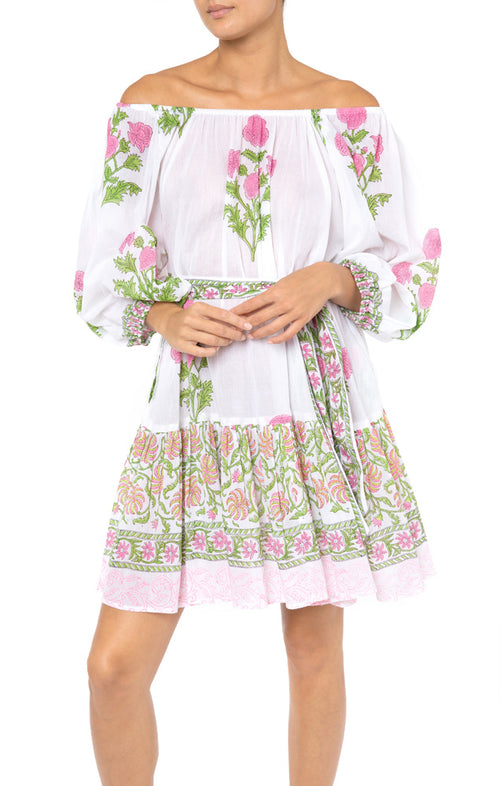 Juliet Dunn Poppy Print Boho Dress in Fuchsia