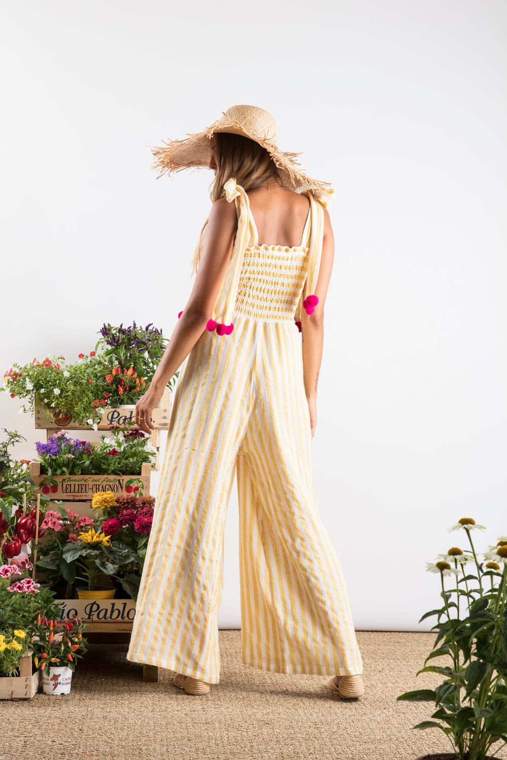 Sundress.fr Pippa Designer Jumpsuit in Portofino Lemon Stripes Wide Leg