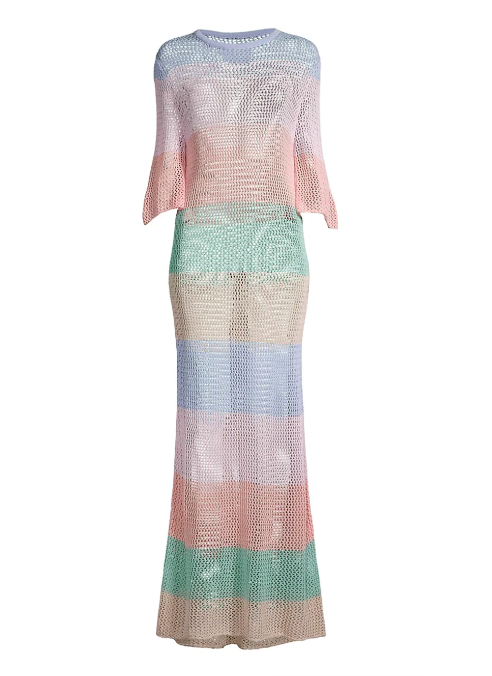 Pitusa Rainbow Crochet Maxi Dress - Pastels