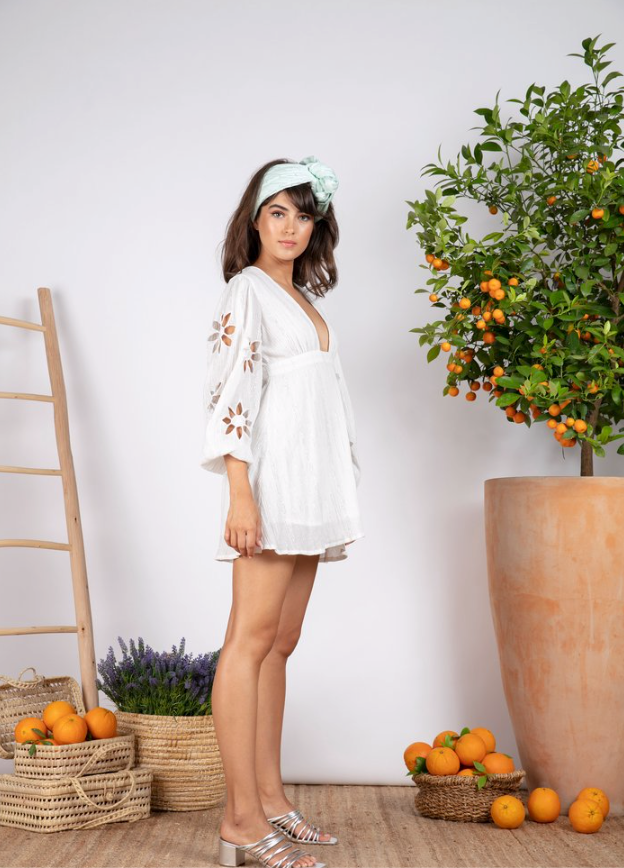 Sundress Lucie White and Silver Sun Cut Short Dress