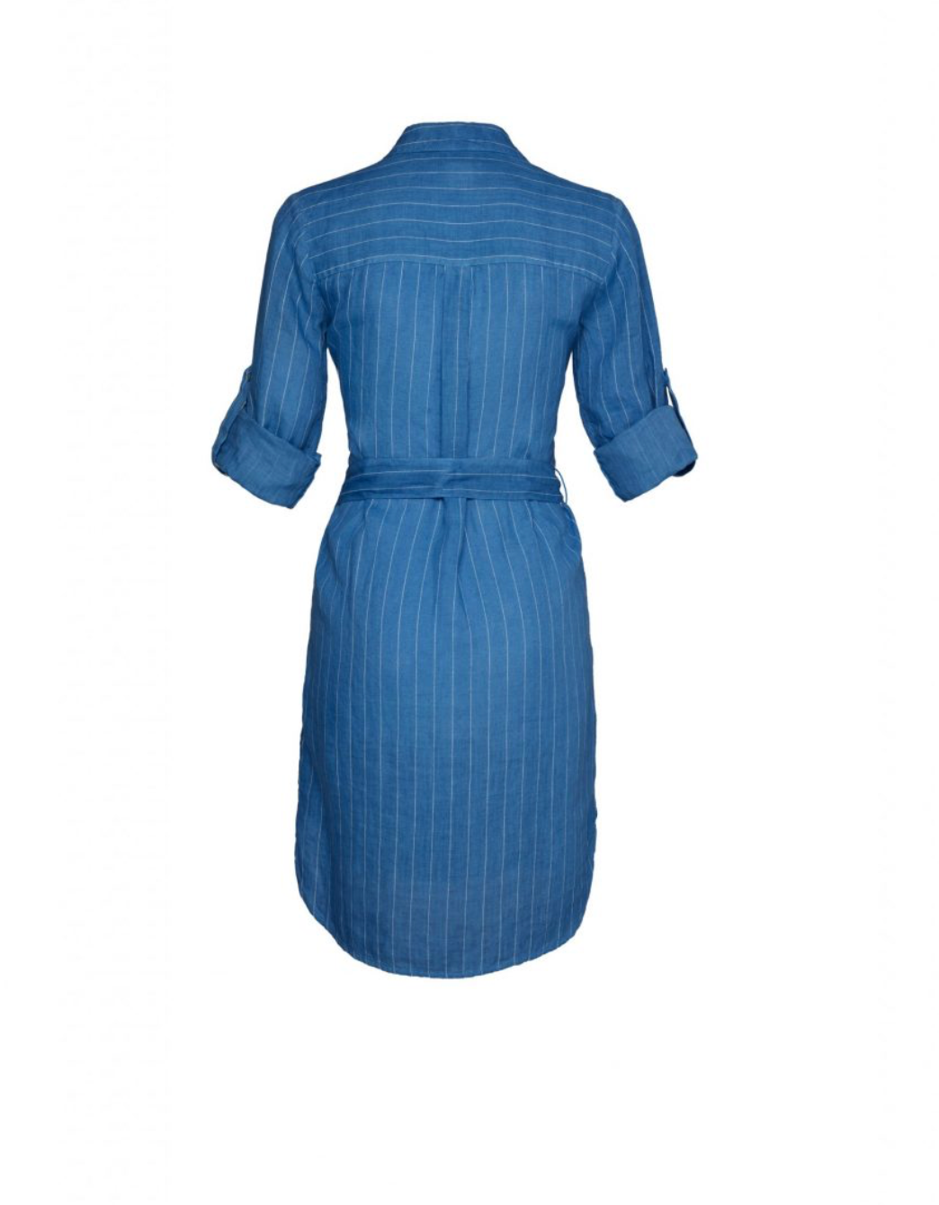 120% Lino Striped Linen Shirt-Dress in Harbour Blue