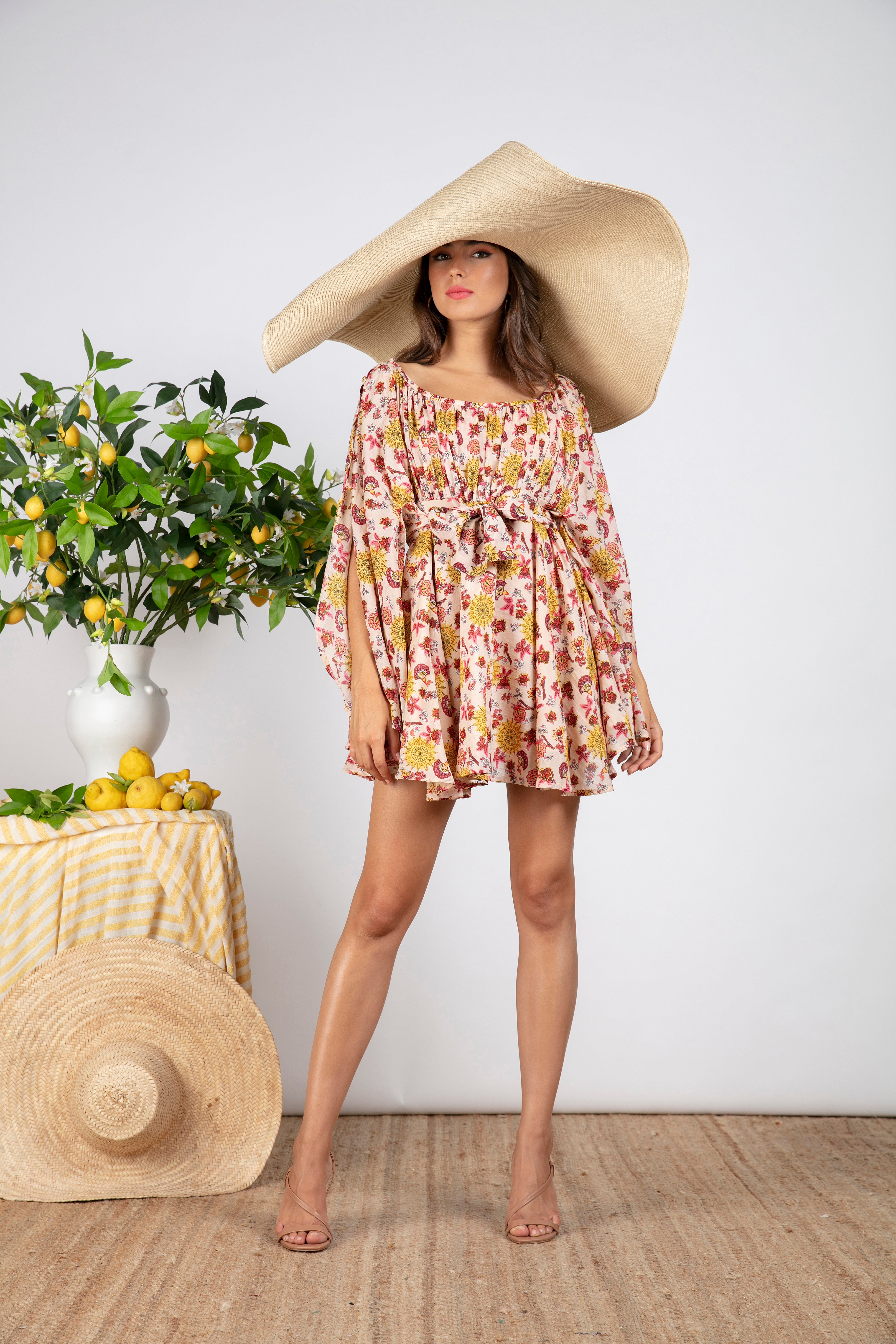Sundress.fr Coky Silk and Cotton Short Print Dress