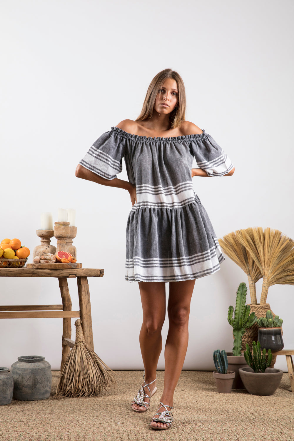 Sundress.fr Bella Foute Flared Mini Beach Holiday Dress - Grey Stripes