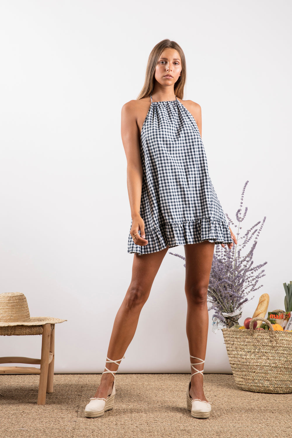 Sundress.fr Lima Gingham Black and Pink Pom-Pon Mini Summer Dress
