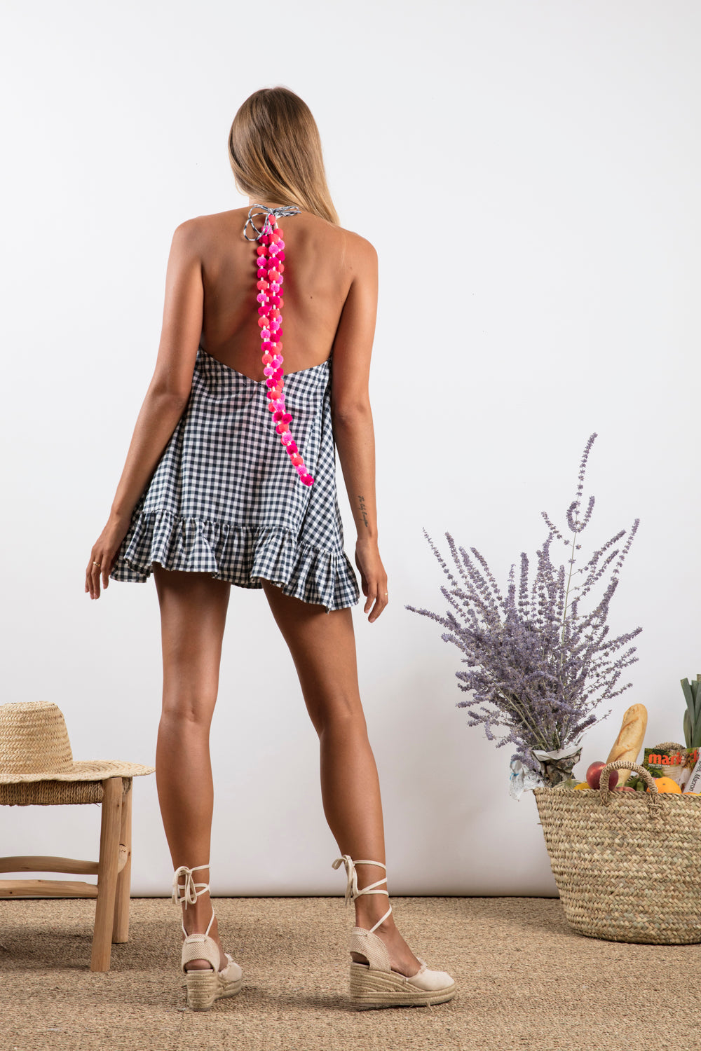 Sundress Lima Gingham Black and Pink Pom-Pon Mini Summer Dress