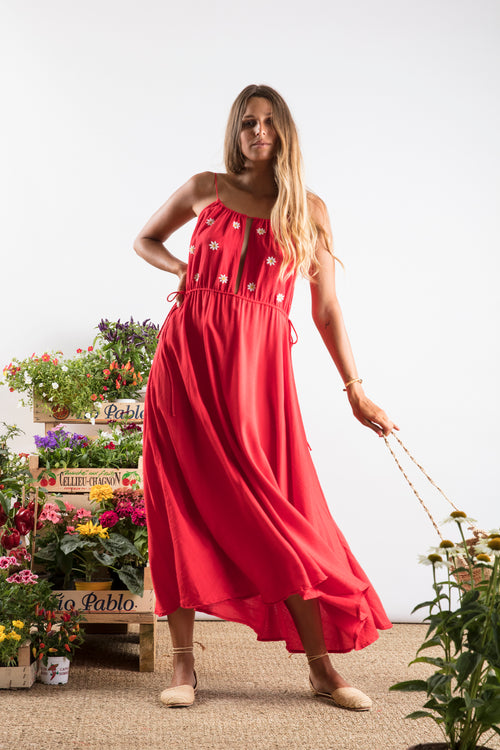 Sundress.fr Robyn Daisy Midi Dress in Red