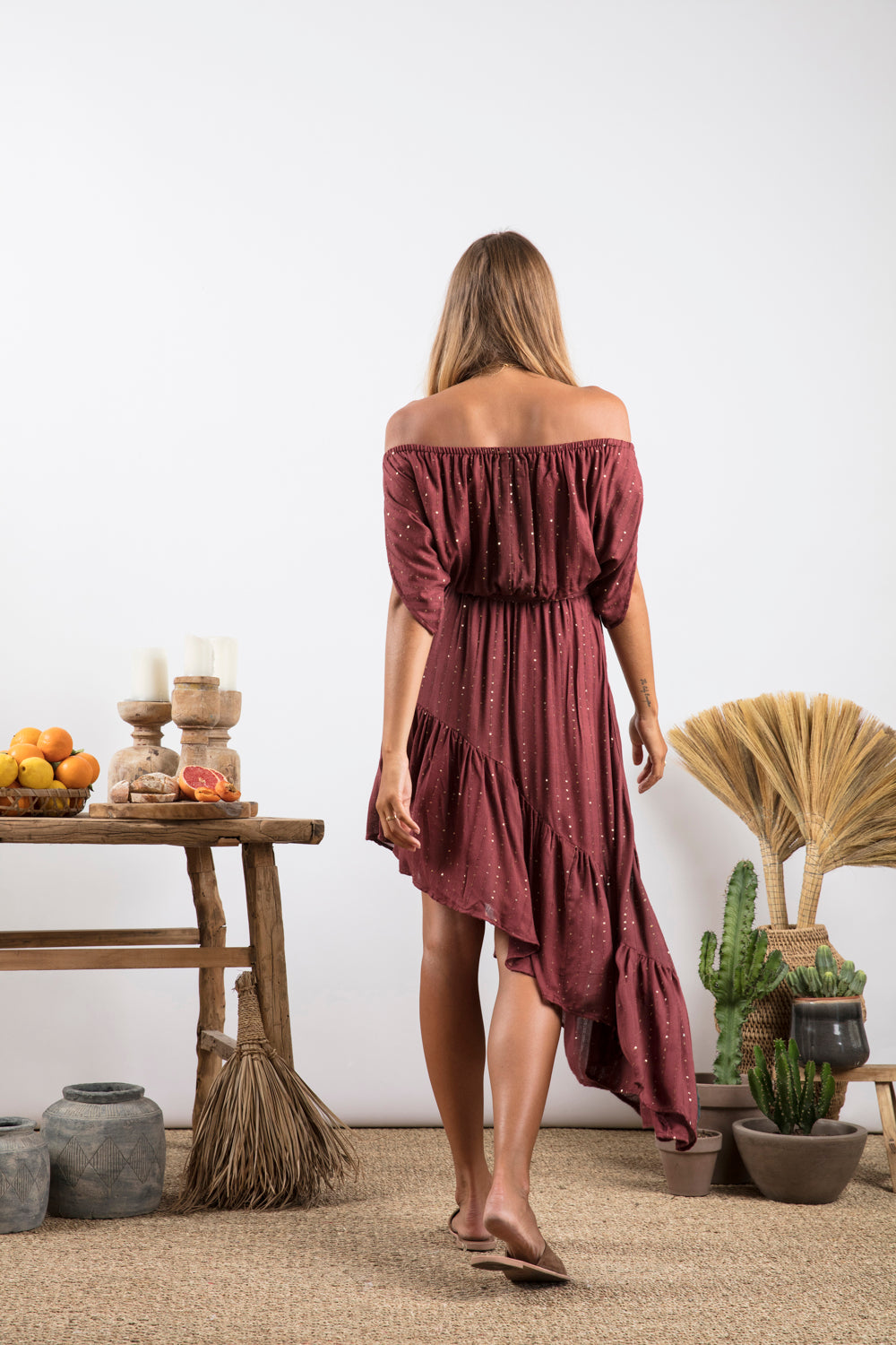 Sundress Salma Precieuse Marsala Off-the-Shoulder Dress
