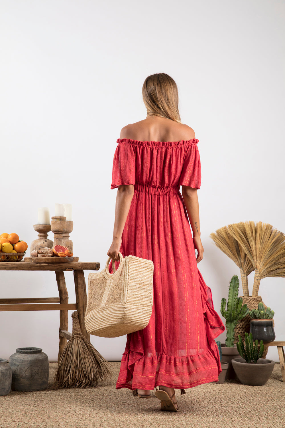 Sundress Alena Off the Shoulder Asymmetrical Maxi Holiday Beach Dress
