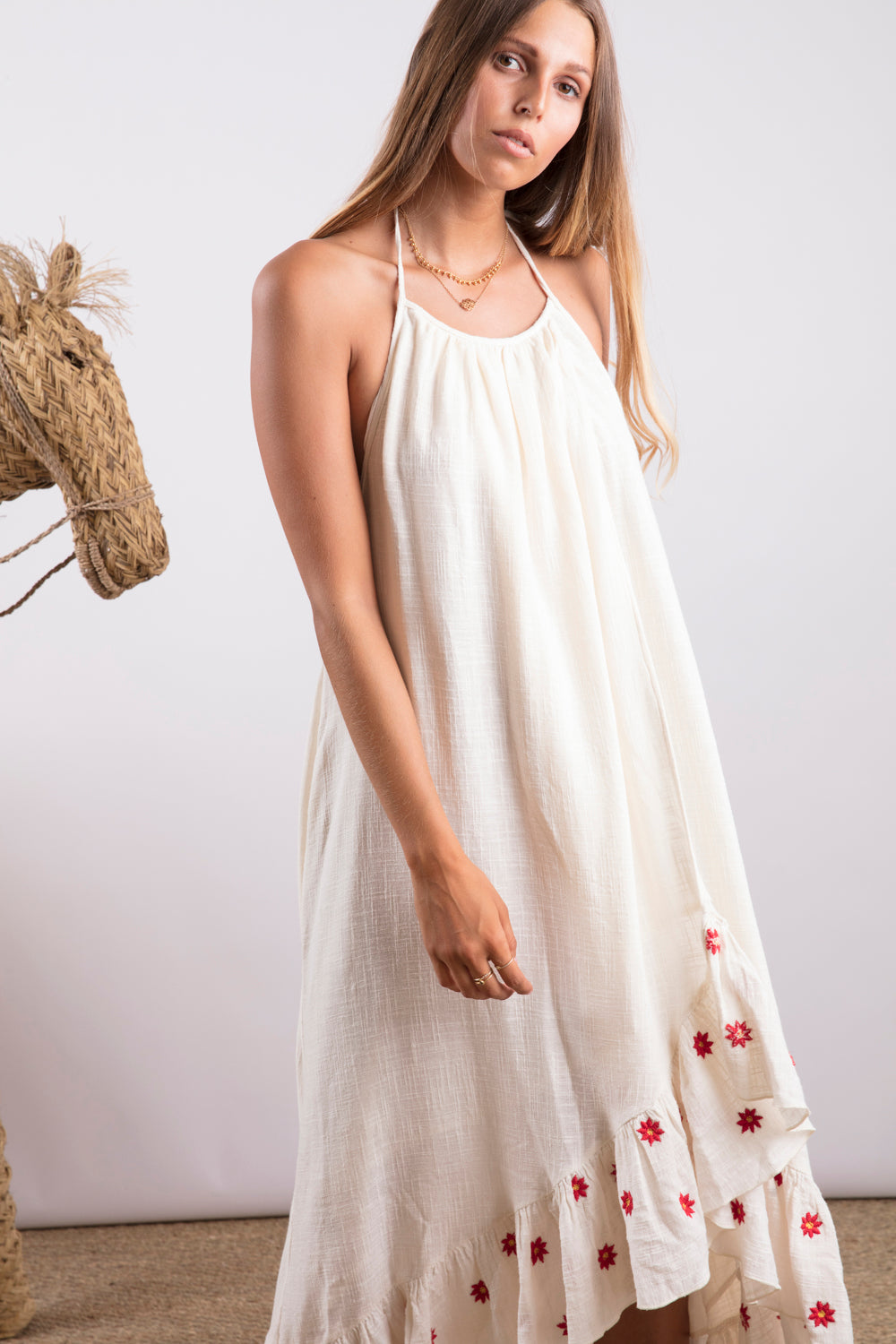 Sundress.fr Alice Off-White and Daisies Embroideries Maxi Beach Dres