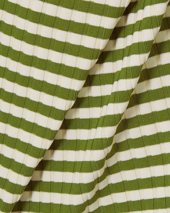 Solid&Striped Nina Ribbed Olive and Cream One Piece