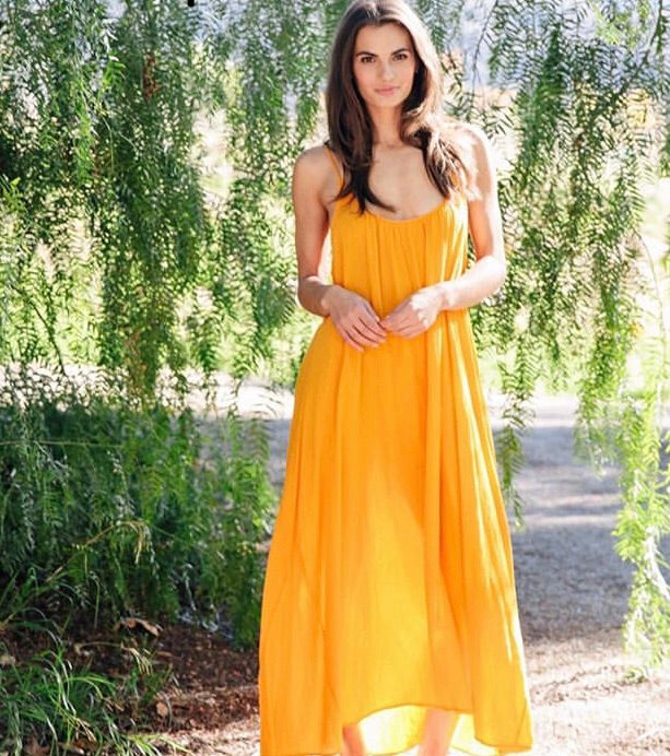 9seed Paloma Ruffle Maxi Beach Dress/Cover-up in Mango Yellow