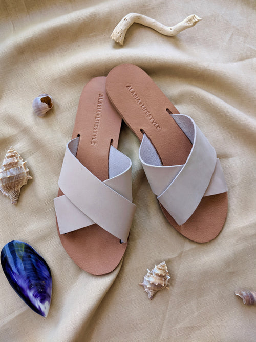 Cross over slide sandals from Alasia love from Cyprus