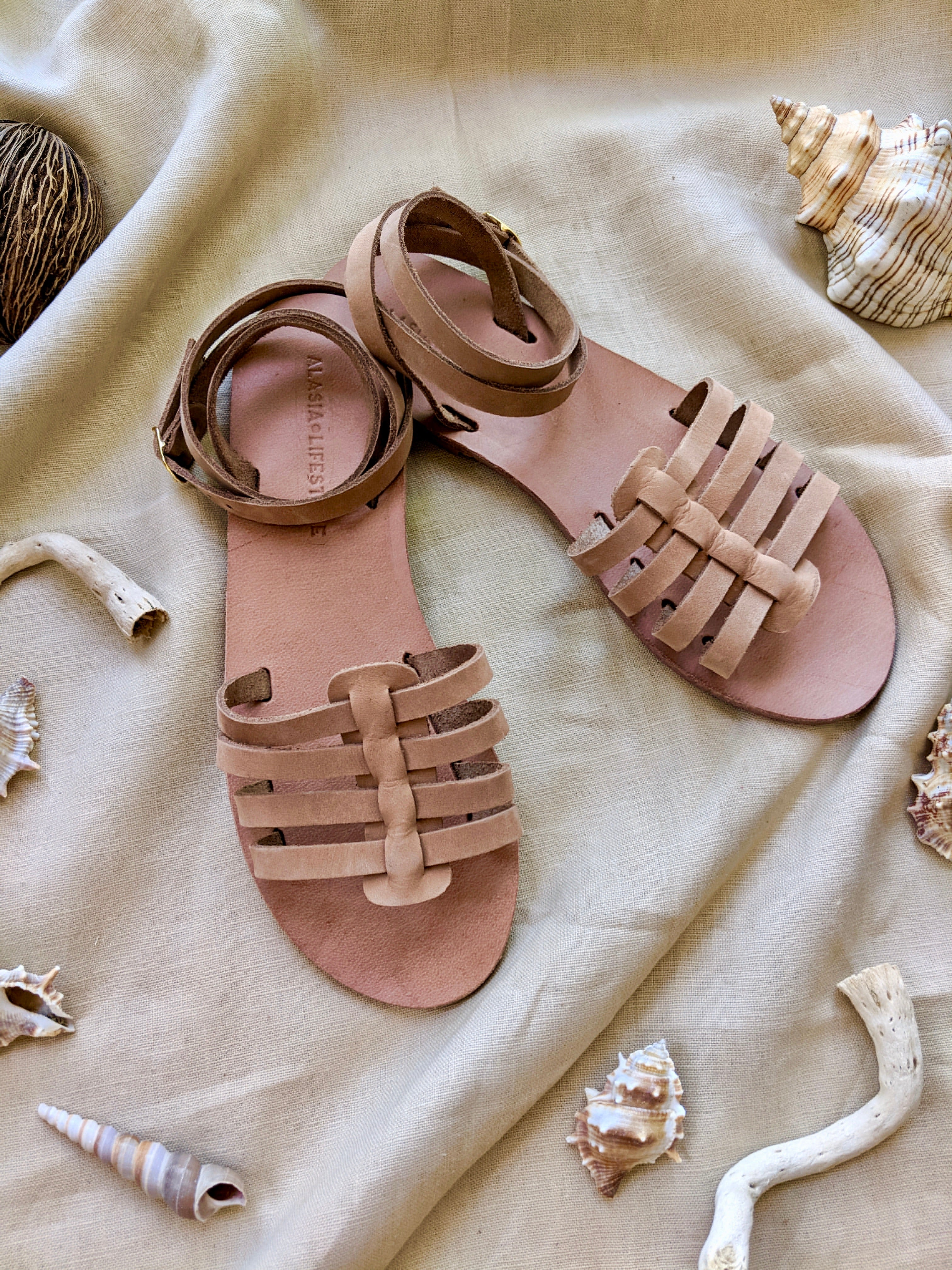Nissi Greek Sandals Tan Leather