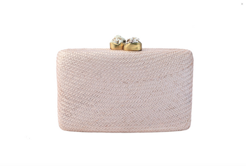 Kayu Jen Clutch with White Stones in Black