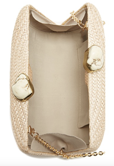 Kayu Jen Clutch with White Stones in Toast