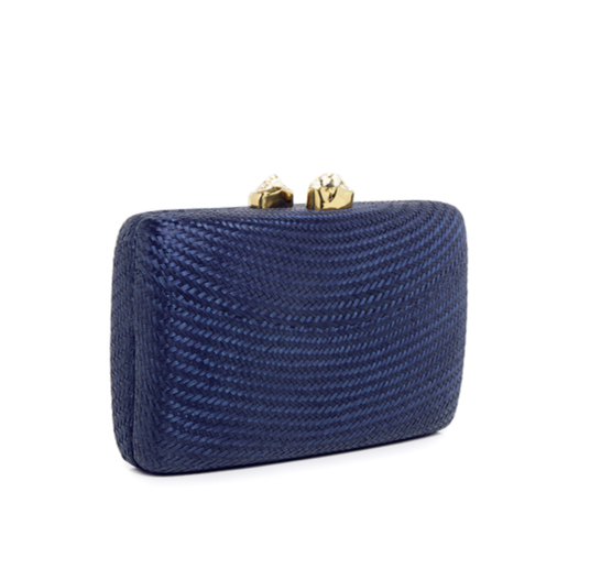 Kayu Jen Clutch with White Stones in Navy