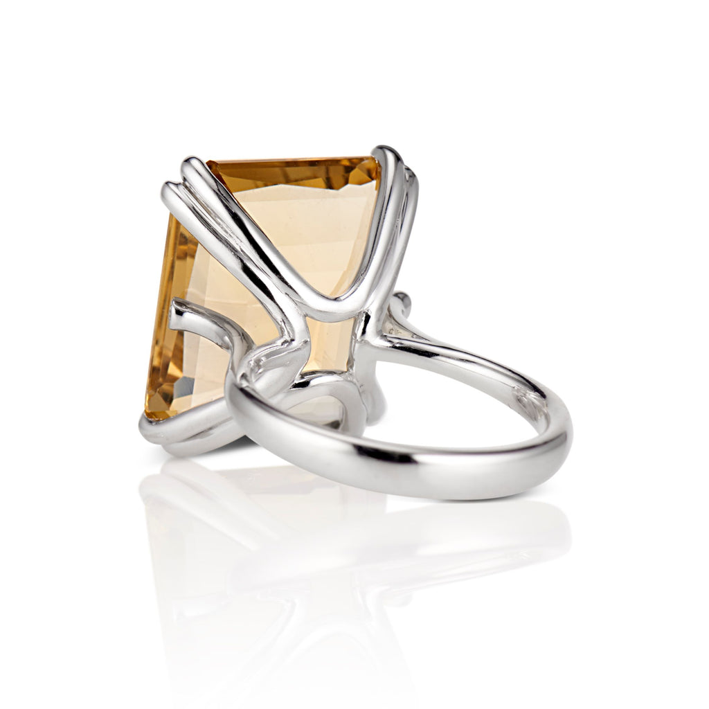 Mia Emerald cut Quartz Cocktail Ring in Palladium - David Alan