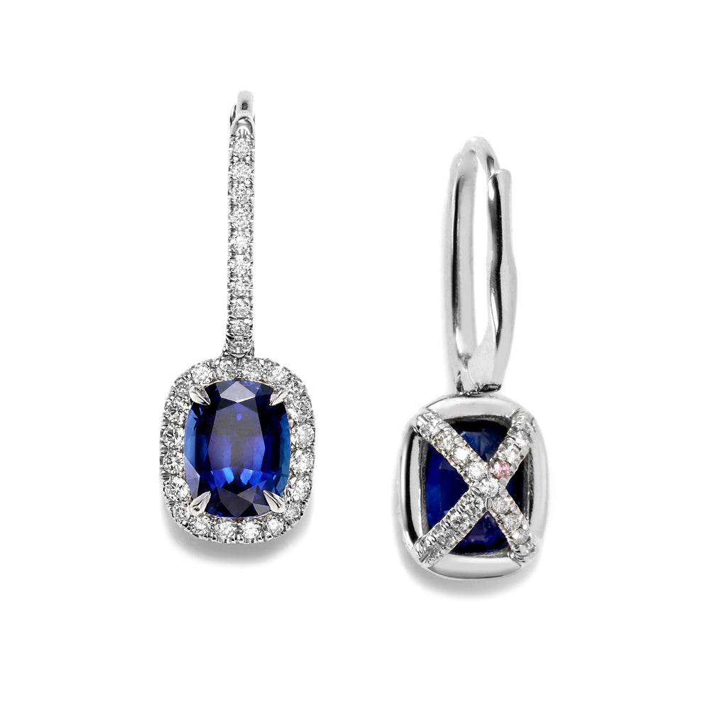 Paloma Antique Cushion cut Sapphire Earrings in Platinum - David Alan
