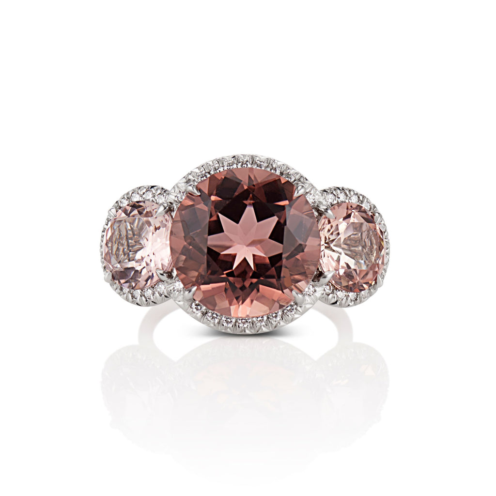 Paris Round Brilliant cut Tourmaline Cocktail Ring in Platinum - David Alan