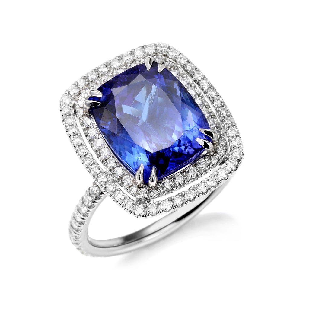 Ramona Antique Cushion cut Tanzanite Cocktail Ring in Platinum - David Alan