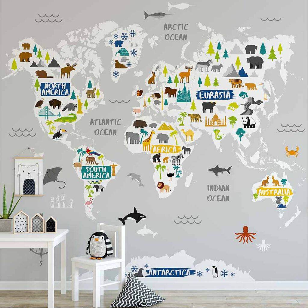Papel Tapiz Decora Pro  - Superfresco -Colección Individual Kids - Mural -World Map 111398