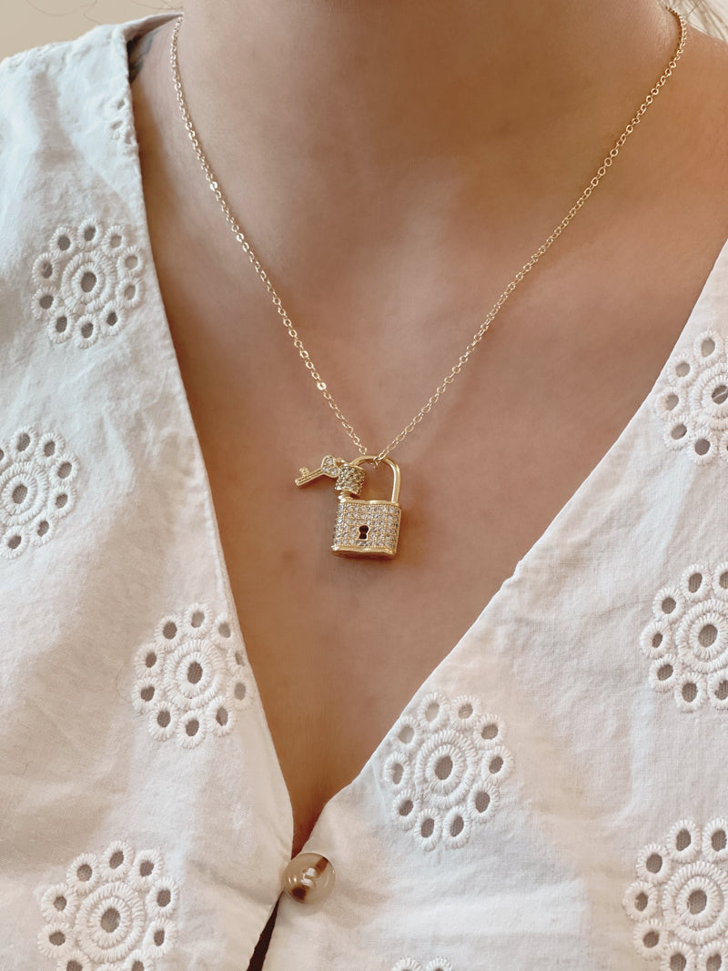 Lock and Key Necklace - 18k Gold Plated Love Necklace - Padlock Pave CZ Screw lock Charm- Couples Jewelry - Bridesmaid Gift - Mothers Day