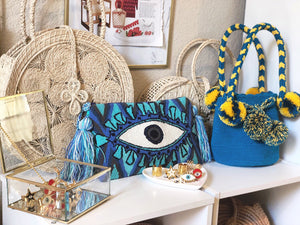 Wayuu Clutch Evil Eye for Women, Boho clutch bag with tassels, Colombian tribe handmade