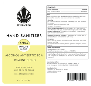 HAND SANITIZER with 80% Alcohol - Immune Blend Sanitizer 6oz Spray