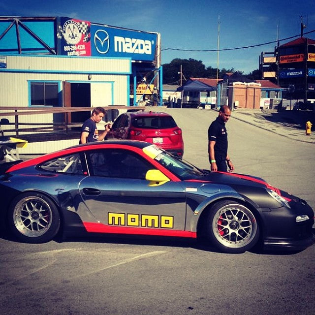 #ansamotorsports on top of the time sheets at the Porsche Cup at Laguna Seca wants to thank #MOMO and #IsringhausenImports for their support.